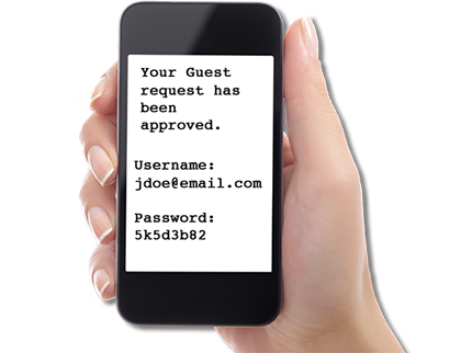 Guest Wifi Text Message Received example